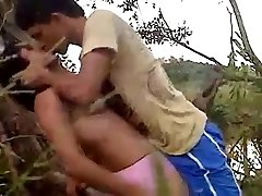 22 Lovers recording their hard fuck in jungle