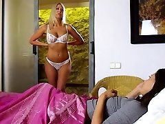 Lesbian teen mistress with immense boobs