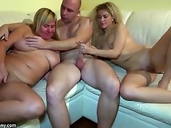 Youthful girl fucking in threesome with grandmother