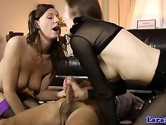 Mature cumswapping 3some with brit milf