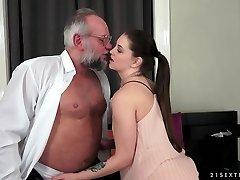 Angelina Brill pounds an older gentleman