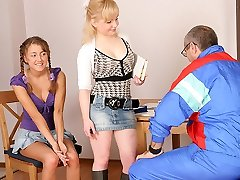 TrickyOldTeacher - Two hot coeds get naked and give mature tutor 3 way and throating