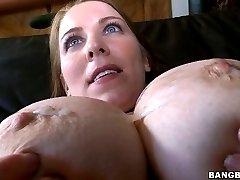 Smoking hot Desiree De Luca has huge tits cum covered