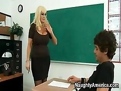 This busty blond MILF of a teacher needs some really rough sex