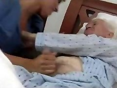 young give handjob to very elderly
