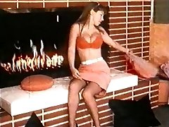 FIRE - vintage nylons striptease dance stockings good-sized boobs