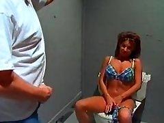 Massive jug bikini bimbo sextsar Leanna bathroom fuck