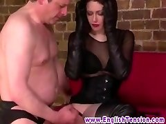 Sissyfied victim shoots a load on FEMDOM dom boots too early