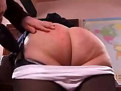 Naughty granny gets her ass spanked hard