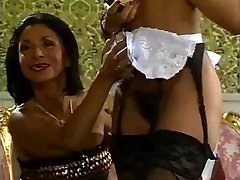 Mature lady and her ebony maid doing a man - vintage