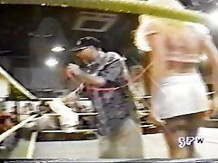 Jasmin St. Claire taking on Georgeous george in a boulder-holder and panties match wwe