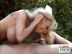 Big-chested Nurse Cock Deep-throating By The Pool