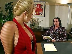 Blond office slut sucking her boss off