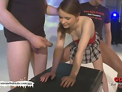 Little Amateur teen tries bukkake for the first time!