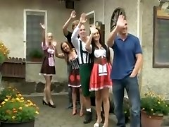 German theme guzzling party turns into bang-out in dirndl