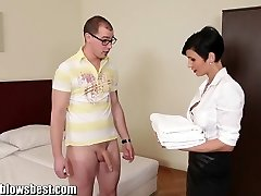 MommyBB Busty euro Cougar Maid deep-throats the hotel client