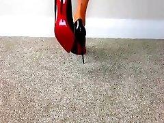 FEMDOM Naked FEET IN HIGH High-heeled Shoes - saf