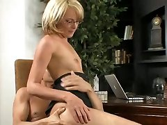 Lusty blond MILF in glasses Amy Moore rides hard dinky of her dude with zeal