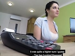 Good-sized boobs Czech MILF sucks and humps to get her loan