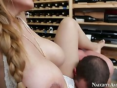 Brutal fellow Jordan Ash fucks mega buxom hottie Yurizan Beltran in wine cellar