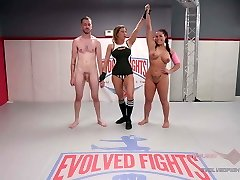 Mixed Grappling with Cream pie Prize ending Wrestlers fuck