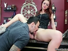Voracious red-haired cutie Karlie Montana gets her muff eaten