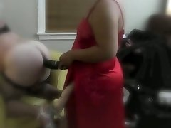 Sissy whore licking mistress giant cock
