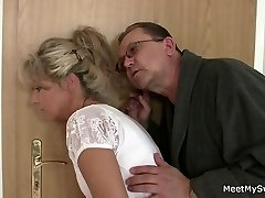 She rides his aged cock after pussy eating