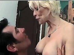Mature femdom fetish brit in tights drains losers dick