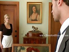 Blonde busty maid extreme threesome sex
