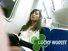 Dick Flash Brunette on Bus