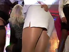 Pantyhose upskirt in club