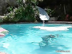 Horny girlfriends gets DP and facialized at pool