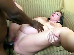 Gross pregnant blond haired whore rides and sucks ample black cock