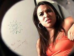 Cute Latina Sucks Gloryhole Cock In Public Changing Room