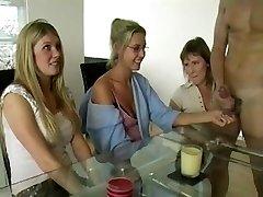 Trio Moms Jerking Manstick