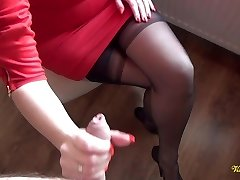 Spunk all over nylon stockings