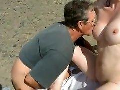 Nude Beach - Bashful Wifey Plays with Strangers