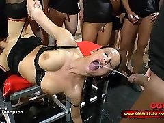 Dirty black-haired fuckslut used as a toilet in a huge gangbang