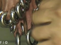 Closeup piercing demonstration