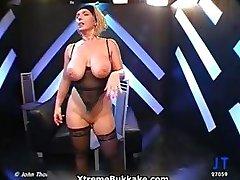 Busty blonde slut goes crazy sucking part2
