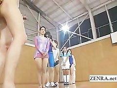 CFNM group of Japan athletes line up to give blowjobs