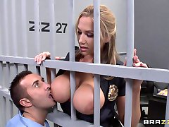 Big Tit Blonde prison guard lures inmate to fuck