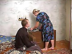 Mature busty lady seduces neighbor boy with big dick into fucking her gently