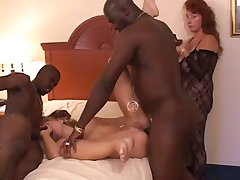 White girl takes 4 black cocks at once