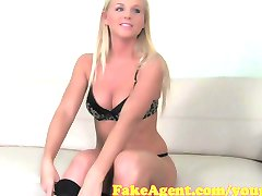 FakeAgent Hot Blonde babe massages cock then Fucks in Casting
