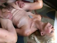 A skinny, hairy, wrinkled old lady gets fucked