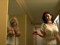 Plně došlo, že dívka, hogtied v bílé prádlo