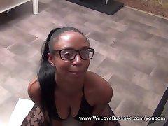 Fit black girl in glasses gets her face plastered