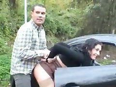 Fucking hot brunette in public on car
